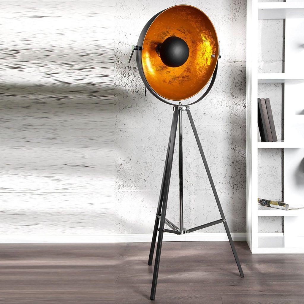 amazon-design-lampada-a-stelo-spotlight-regolabile-proiettore-160-cm-nero-oro