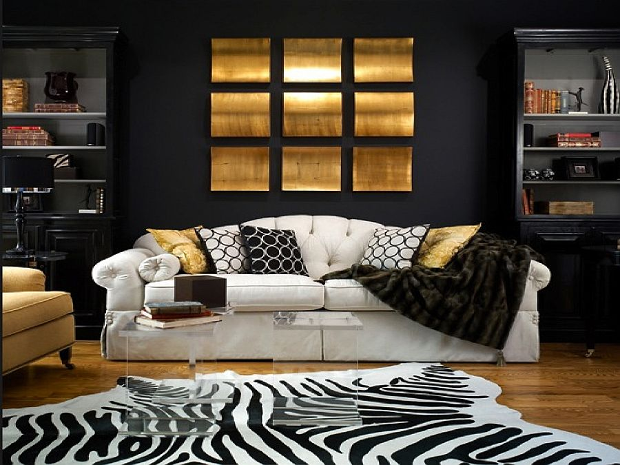 nero-e-oro-zebra-rug-black-backdrop-along-with-gold-accents-for-the-living-room