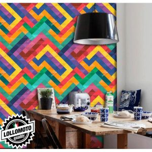 .amazon Carta da Parati Effetto Tetris Colors Interior Design Arredamento Personalizzato Wall Paper