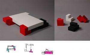 bedtris letto ispirato al gioco del tetris realizzato da Uno studente del Beckmans di Stoccolma, Daniel Enoksson gioco Tetris