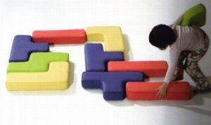tetris specie di cuscini morbidi e realizzati in materiale ecologico e ignifugo, dalle forme simili a quelle del gioco Tetris. by play+soft