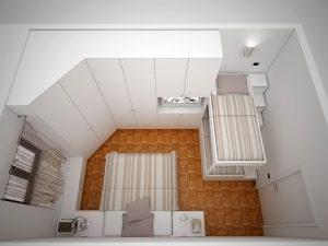immagine la camera degli ospiti progettata dall'architetto francesca Zandonà prevede un letto a castello e un letto matrimoniale