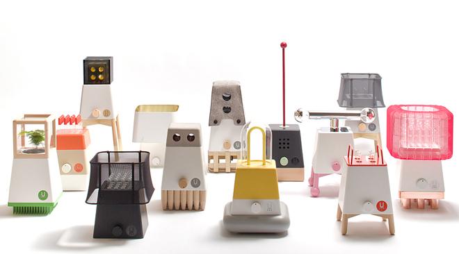 robot Di Brooklyn progetto UM ha presentato il suo nuovo sistema Craft una serie di lampade simili a robot futuristici retrò httplin-morris.com