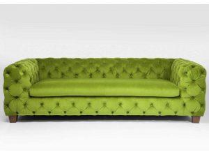 Divano capitonné in tessuto a 3 posti My Desire Green di Kare-Design