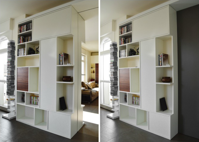 porta-libreria moderno passaggio segreto