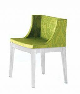 seduta poliuretano espanzo struttura in policarbonato Kartell Mademoiselle poltroncina tessuto fantasia