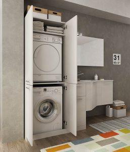 Come progettare la cucina con angolo pranzo in modo for Lavatrice e asciugatrice in colonna