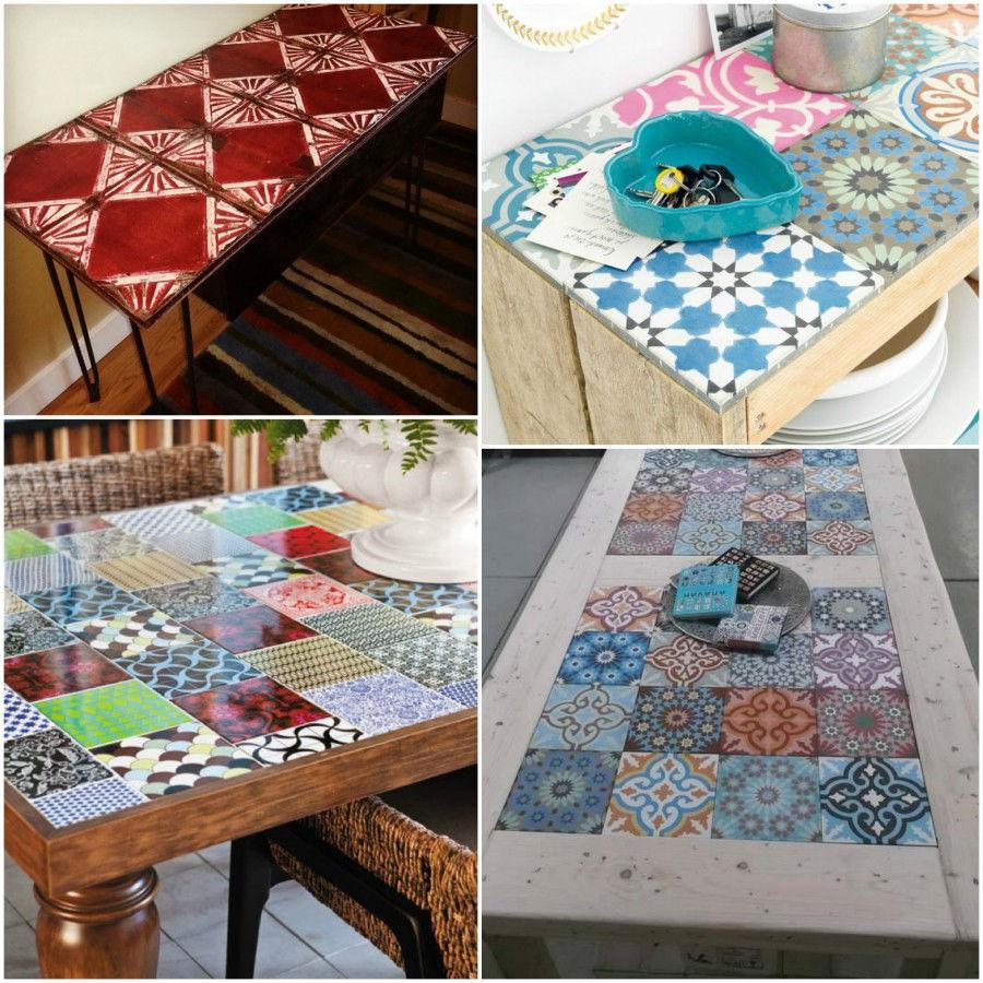 Mix match patchwork di piastrelle architettura e design a roma - Tavolo con piastrelle ...