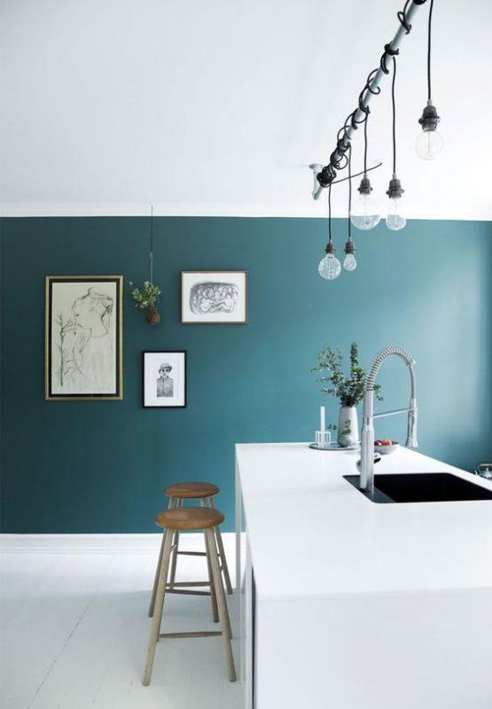 parete cucina-parete-verde - Architettura e design a Roma