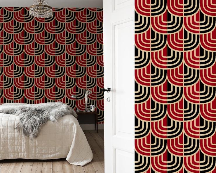 Papier Peint Art Dc3a9co Rouge Et Noir Architettura E