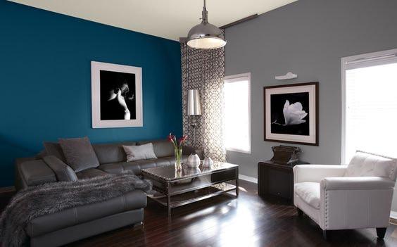 magnifique-salon-bleu-petrole-idu00e9es-peinture-u0026 ...