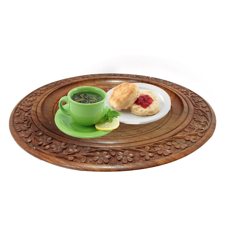 .amazon 12 X 12 pollici intagliato a mano in legno bellissimo piatto rotondo da portata, vassoio da cucina con design floreale e intarsi in ottone intagliato perfetto per servire cibo, bevande fredde