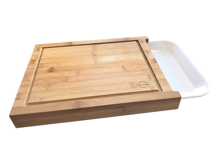 .amazon Cocooneo Tagliere in bambù 100% organico con contenitore – 34x27x4cm – scanalature per succo – Vassoio rimovibile in melamina bianca – Design elegante e facile da pulire