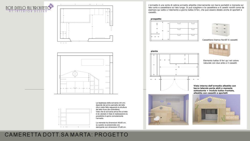 Progettazione di letto a soppalco con armadio