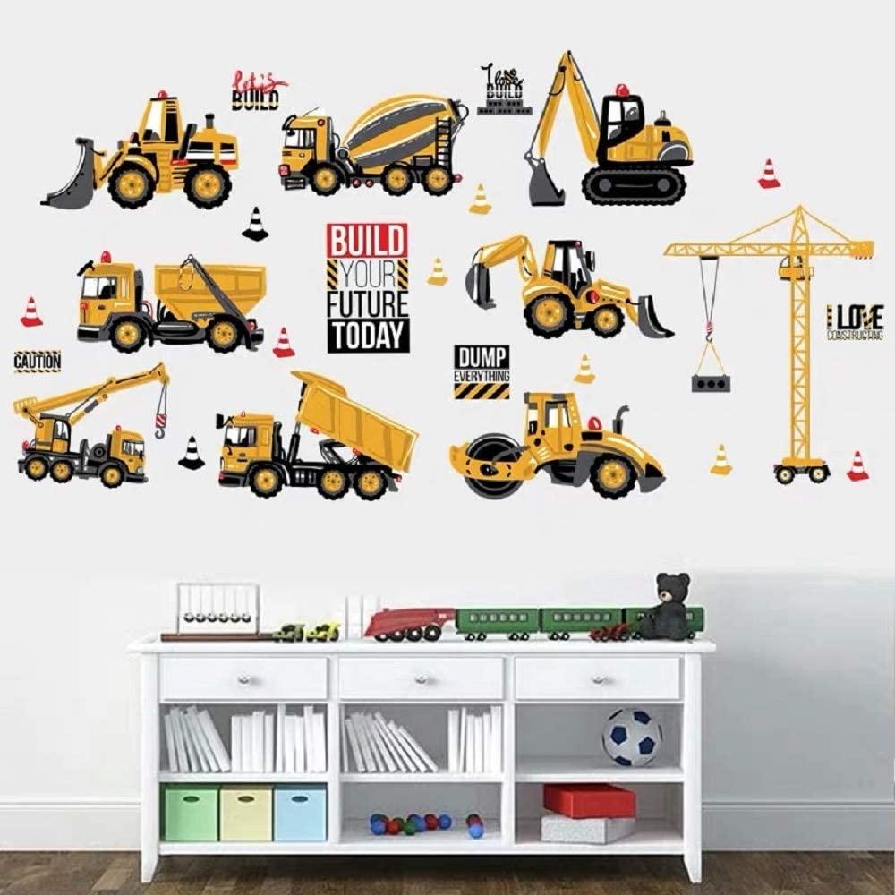 Arredamento di design e cantiere - image amazon-WandSticker4U%C2%AE-Adesivo-da-parete-per-bambini-85-x-44-cm-decorazione-da-parete-per-la-cameretta-dei-bambini-per-cantieri-macchine-edili-trattori-veicoli-e-camion on http://www.designedoo.it
