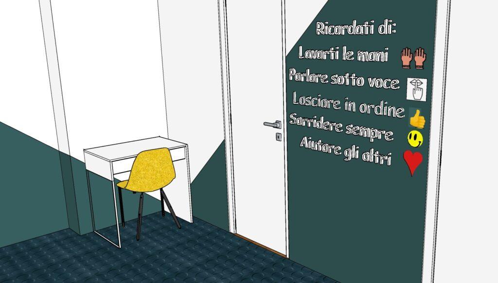 Design per bambini nel Museo dei diritti dell'infanzia - image vista-stanza-bagni-scritta-1024x581 on http://www.designedoo.it